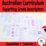 Foundation Australian Curriculum Reporting Grade Descriptors - Semester 2