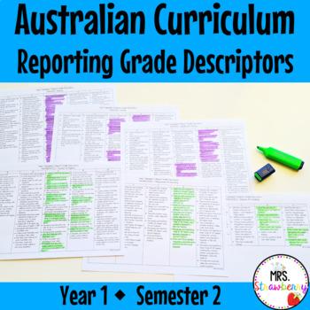 Year 1 Australian Curriculum Reporting Grade Descriptors - Semester 2