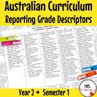 Year 2 Australian Curriculum Reporting Grade Descriptors - Semester 1