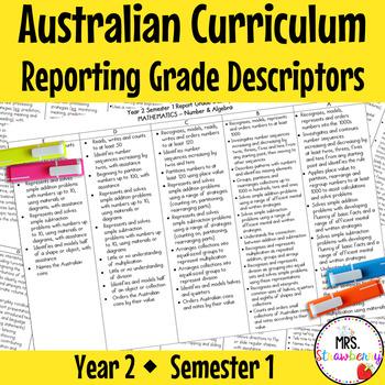 Year 2 Australian Curriculum Reporting Grade Descriptors -