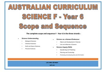 Australian Curriculum - Science Scope and Sequence F - Year 6