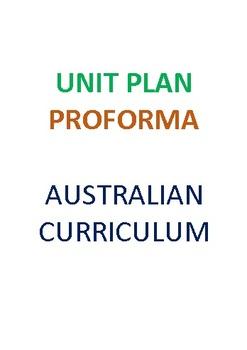 Australian Curriculum Science Unit Plan Proforma