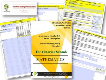 Australian  & VICTORIAN Curriculum Teacher Tool Maths Checklists  Level 3