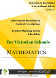 VICTORIAN Curriculum Teacher Tool Maths Checklists  Level 3