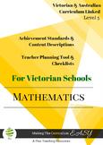 Australian & Victoria Curriculum Teacher Tool Maths Checkl