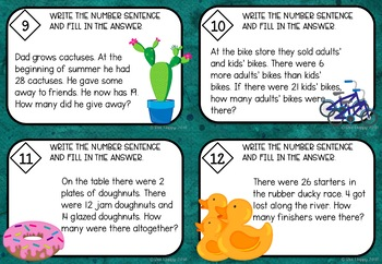 Australian Curriculum Word Problems Worksheets and Task Cards Year 2