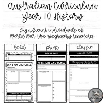 Australian Curriculum-Year 10 History-Significant individuals of WW2 biography
