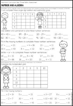 Australian Curriculum Year 3 Maths Test