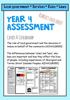 Australian Curriculum Year 4 Civics and Citizenship Assessment -Local Government