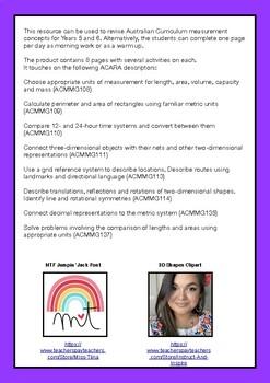 Australian Curriculum Year 5/6 Daily Measurement Booklet Worksheets
