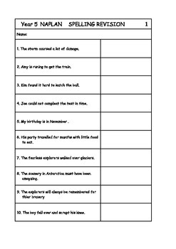 Australian Curriculum Year 5 NAPLAN Spelling Revision Pack