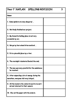 Australian Curriculum Year 7 NAPLAN Spelling Revision Pack
