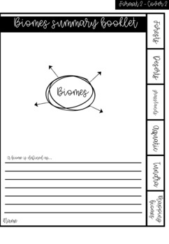 Australian Curriculum - Year 9 Geography: Biomes tabbed summary flip book