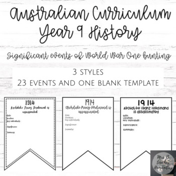 Australian Curriculum-Year 9 History-Significant events of WW1 bunting