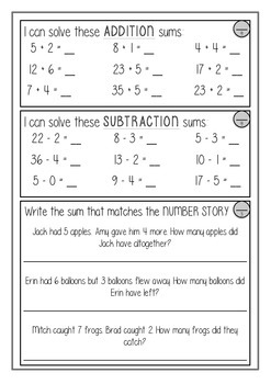 Year One / Year Two Maths Test