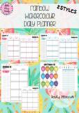 Australian Daily / Day Planner Rainbow Watercolour