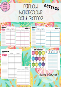 Australian Daily / Day Planner Rainbow Watercolour