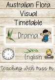 Australian Flora Visual Timetable (editable Powerpoint) with clocks