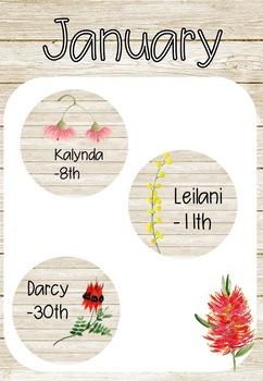 Australian Flora and Fauna Birthday Chart