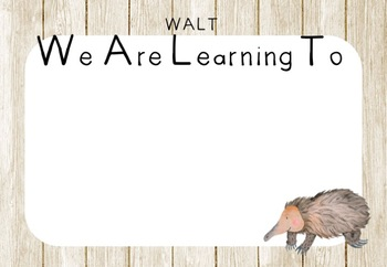 Australian Flora and Fauna Learning Intentions (Wooden Background) Editable PP.