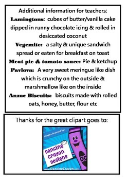 Australian Words Food Tracing Name Book K-1 For Kids To Make & Word Wall Cards
