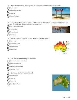 Australian Geography Quiz: Socrative Quiz