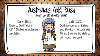 Australian Gold Rush & Eureka Stockade Activites and Assessment