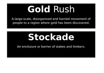 Australian Gold Rush Word Wall