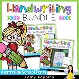 Handwriting BUNDLE {Worksheets, Write & Wipe Mats} Australian School Fonts