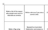 Australian History Activities Grid - Years 3 and 4