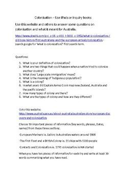 Australian History - Colonisation Investigation