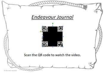 Australian History - James Cook Endeavour Voyage QR Code Video Cards - Captain