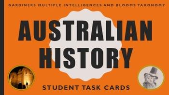 Australian History Task Cards - Multiple Intelligences and