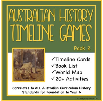 Australian History Timeline Cards, Games and Activities Pack 2