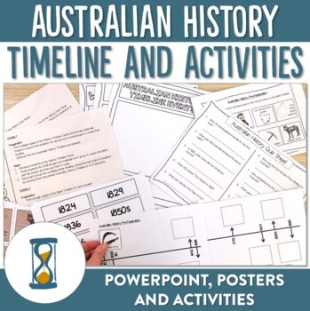 Australian History Timeline Posters and Student Activities Bundle