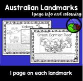 Australian Landmarks: 1 page info & colouring sheet per landmark BUNDLE