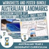 Australian Landmarks Natural and Manmade Worksheet and Poster Bundle