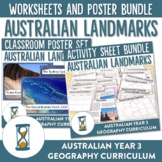 Australian Landmarks Natural and Manmade Worksheet and Poster Bundle