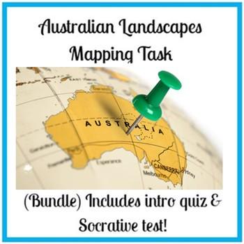 Australian Landscapes Mapping Task (Bundle) Includes intro quiz & socrative test