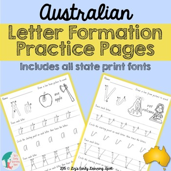 Australian Letter Formation Practice Pages: includes all s