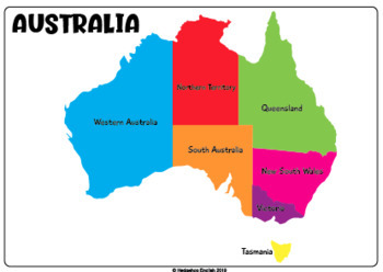 Australia Map Poster.Map Of Australia A4 Poster By Hedgehog English Tpt