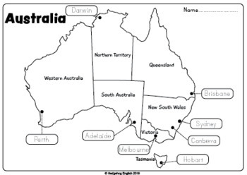 Australia Map Puzzle Printable.Australian Map Worksheet By Hedgehog English Teachers Pay Teachers