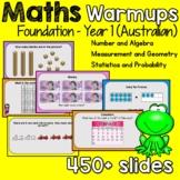 Australian Maths Warmups 450+ slides (Foundation- Year 1)