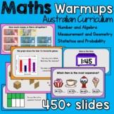 Australian Maths Warmups 450 + slides (Powerpoint and Goog