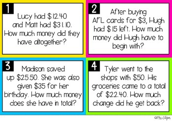 Australian Money Word Problem Task Cards
