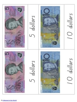 Australian Money 3 Part Cards