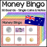 Australian Money Bingo - 30 Boards - Single Coins + Notes.