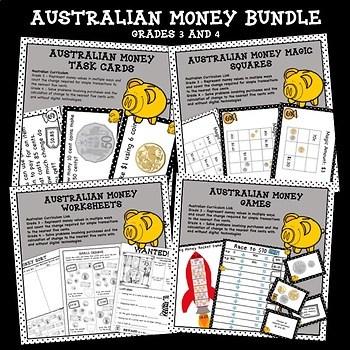 Higher Order Thinking HOTS Australian Money Bundle Grades 3 and 4