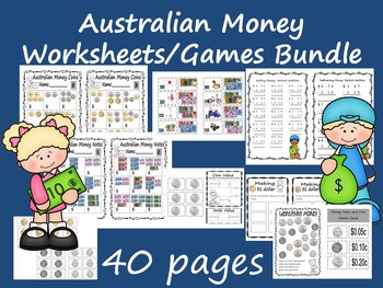Australian Money Bundle Pack: Worksheets and Games