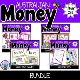 Australian Money Bundle Worksheets, Task Cards and Games  Year 2/3